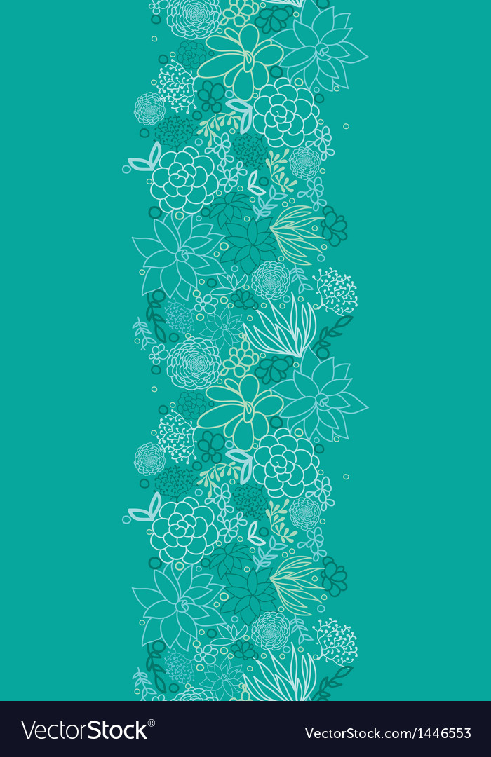 Green succulents vertical seamless pattern vector | Price: 1 Credit (USD $1)