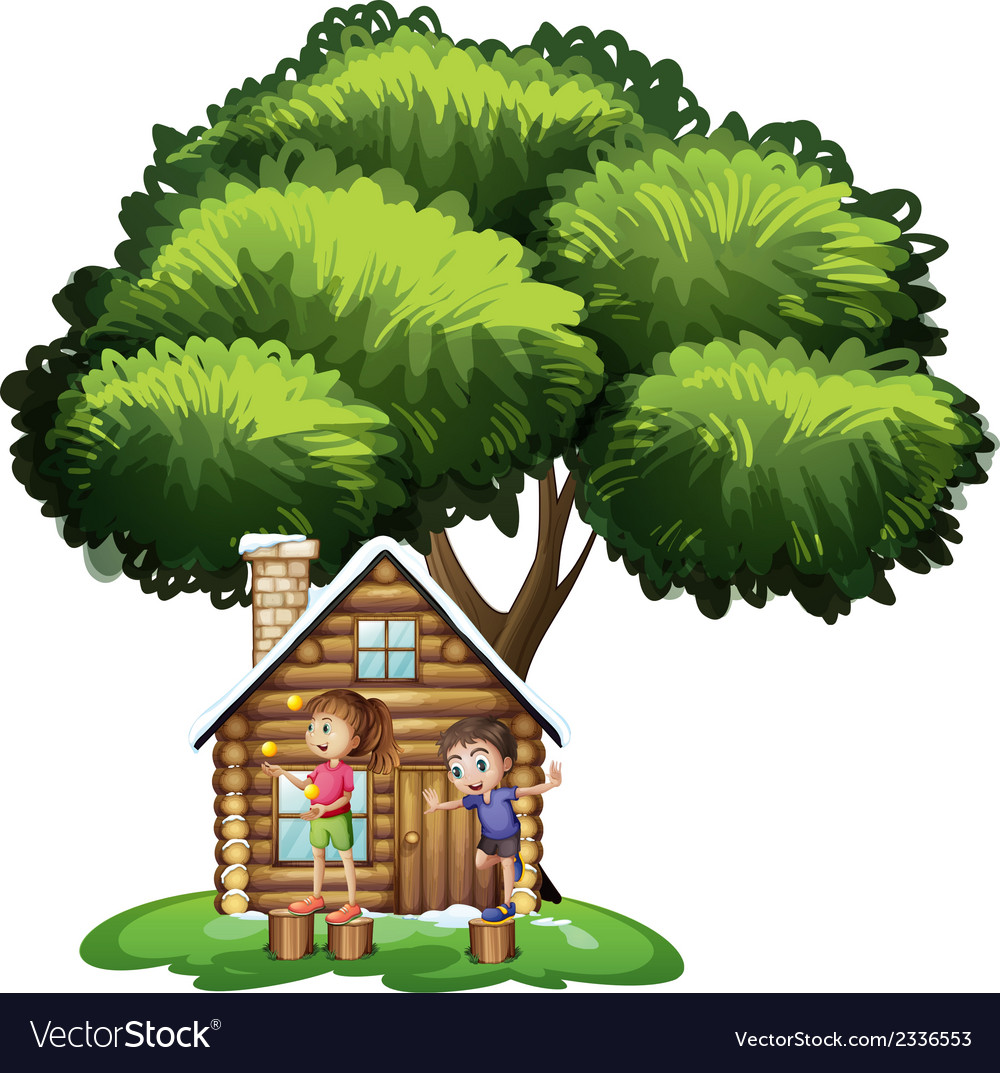 Kids playing outside the house under the tree vector | Price: 3 Credit (USD $3)