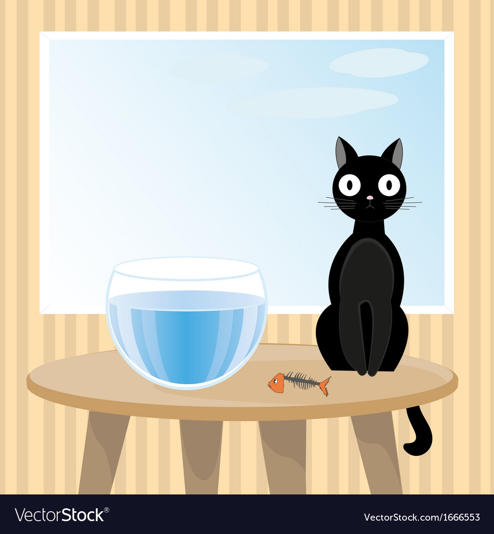 Naughty cat ate fish vector | Price: 1 Credit (USD $1)