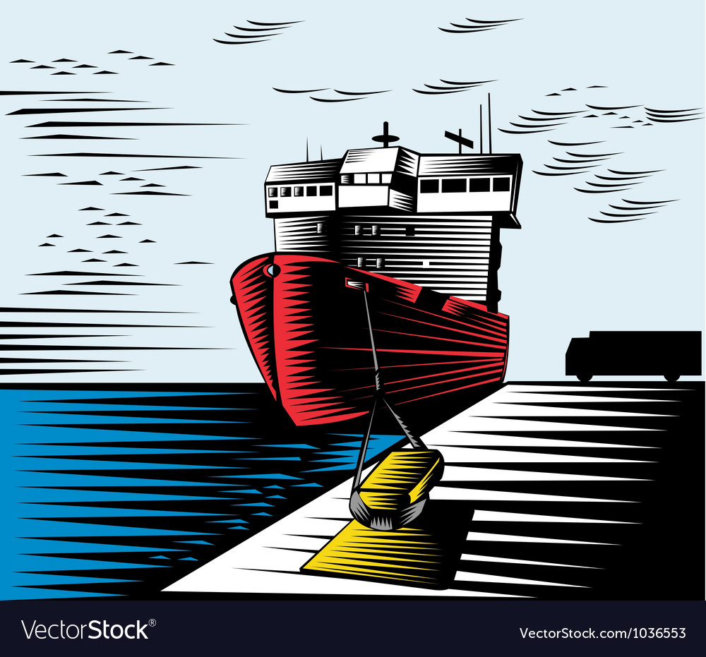 Passenger ship ferry boat anchor retro vector   Price: 1 Credit (USD $1)