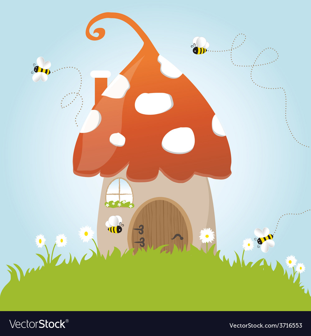 Spring mushroom house bees flower grass green door vector | Price: 1 Credit (USD $1)