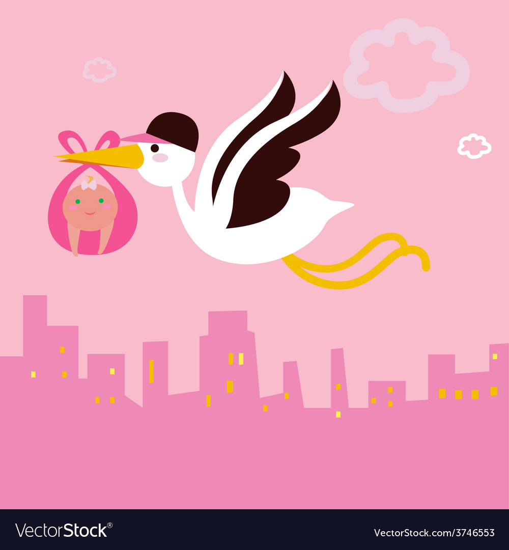 Stork bird with baby girl vector | Price: 1 Credit (USD $1)