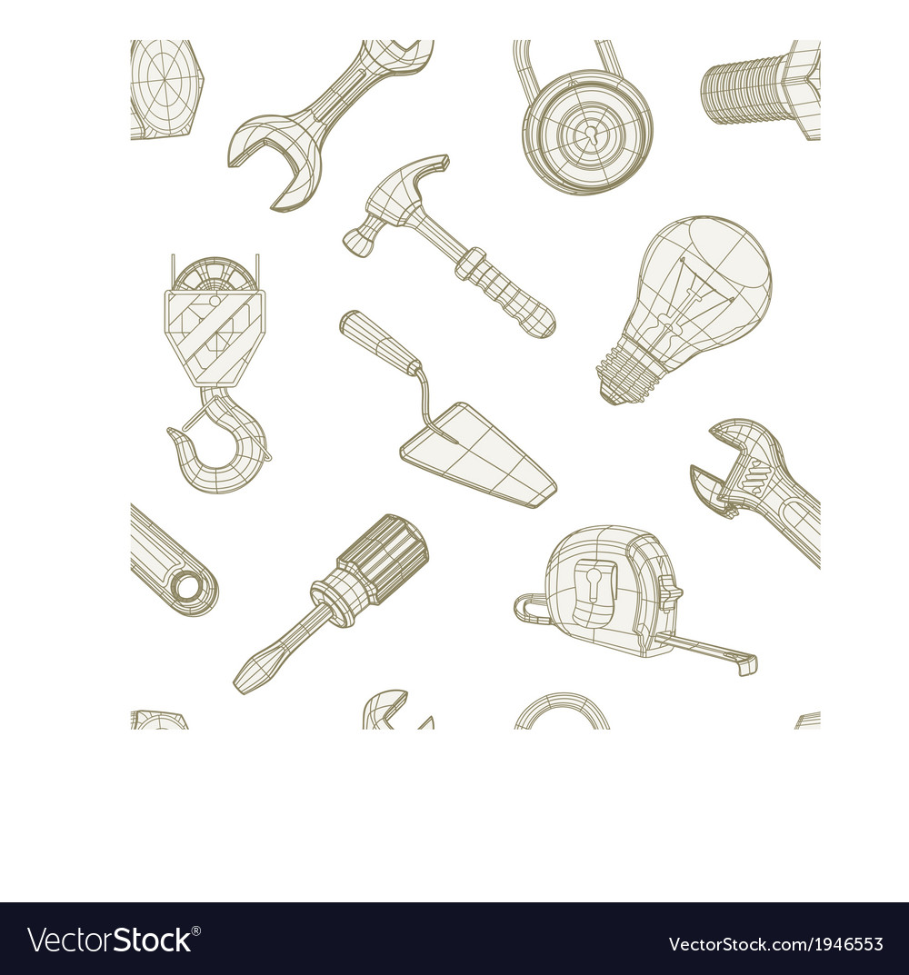 Tools drawing seamless pattern vector | Price: 1 Credit (USD $1)
