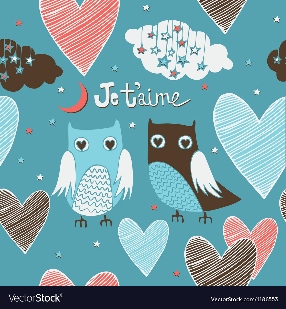 Valentines card owls couple seamless pattern vector | Price: 1 Credit (USD $1)