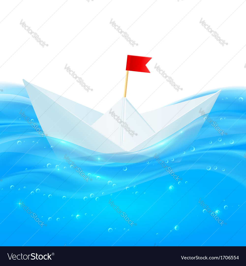 Abstract realistic water with paper boat vector | Price: 1 Credit (USD $1)
