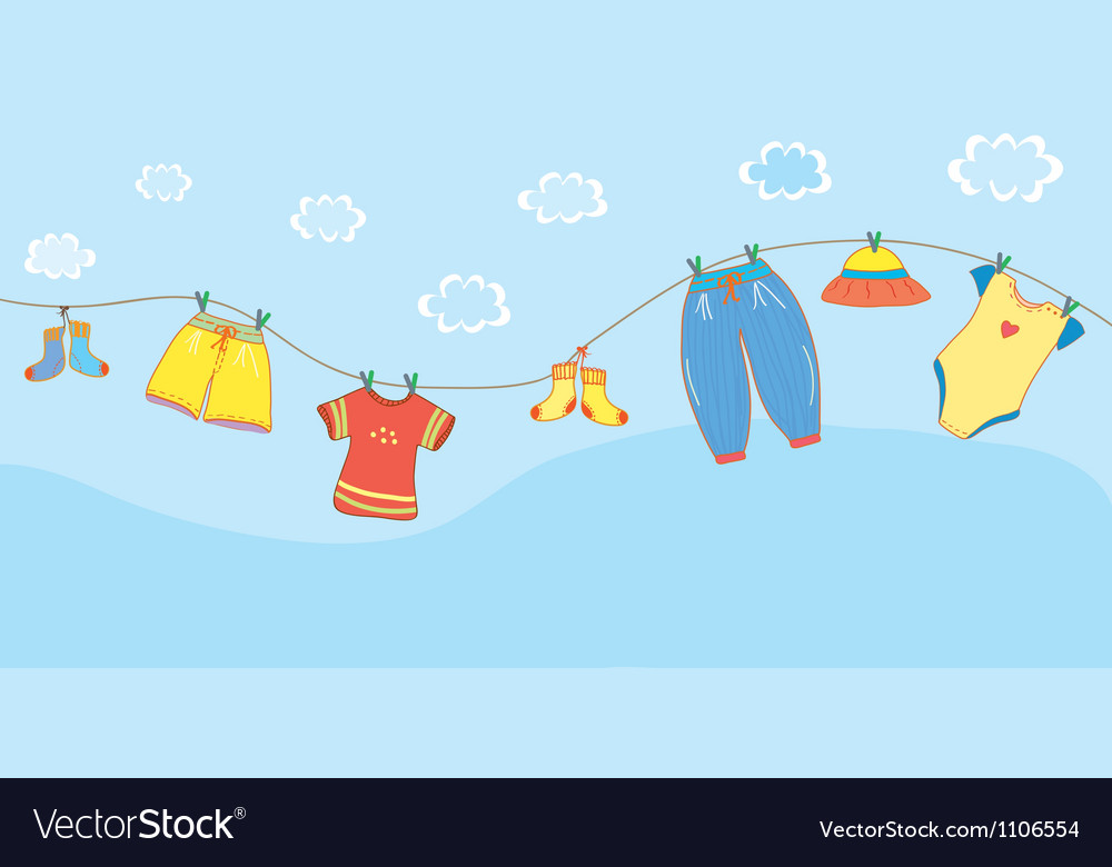 Baby clothes banner in the sky vector | Price: 1 Credit (USD $1)