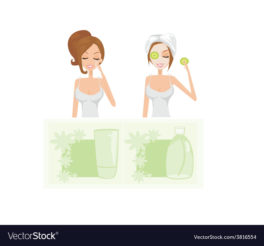 Beauty women getting facial mask set vector | Price: 1 Credit (USD $1)