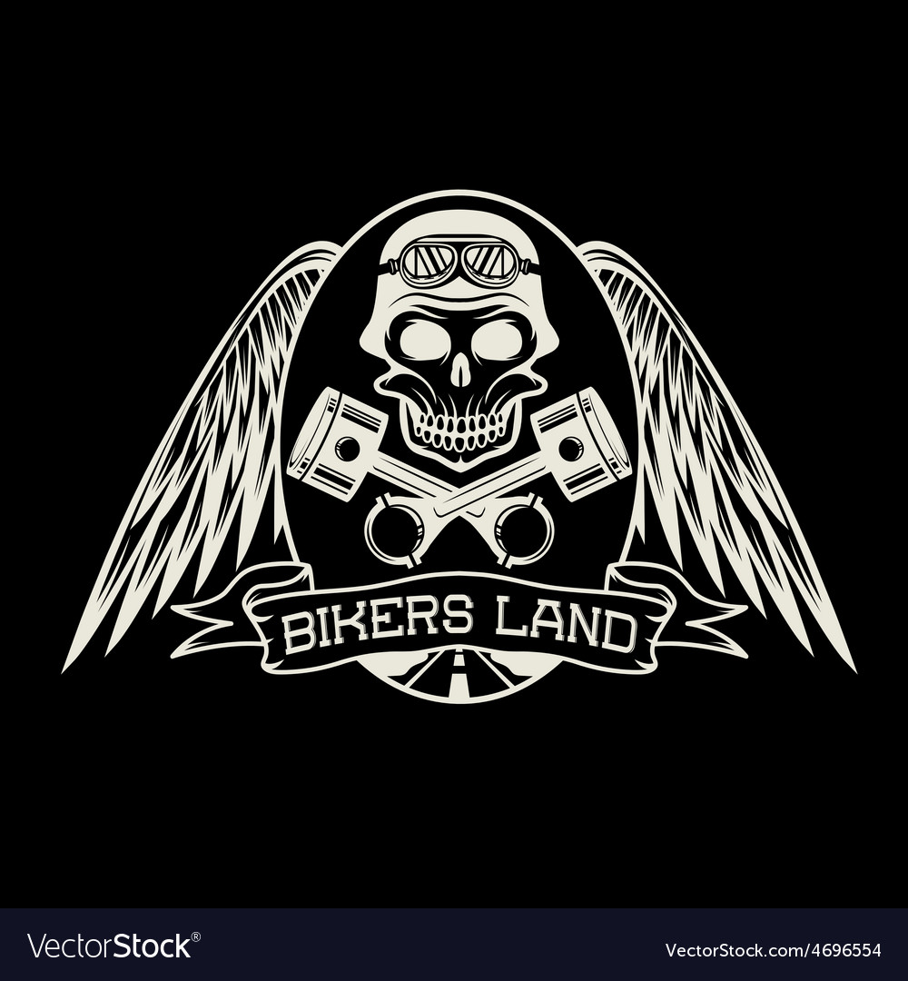 Bikers land crest with skullwings and pistons vector | Price: 1 Credit (USD $1)