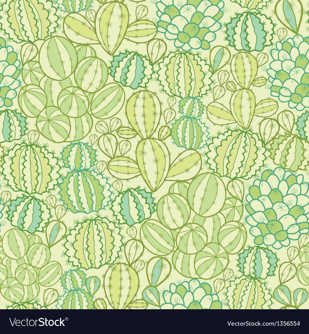 Cactus plants texture seamless pattern background vector | Price: 1 Credit (USD $1)