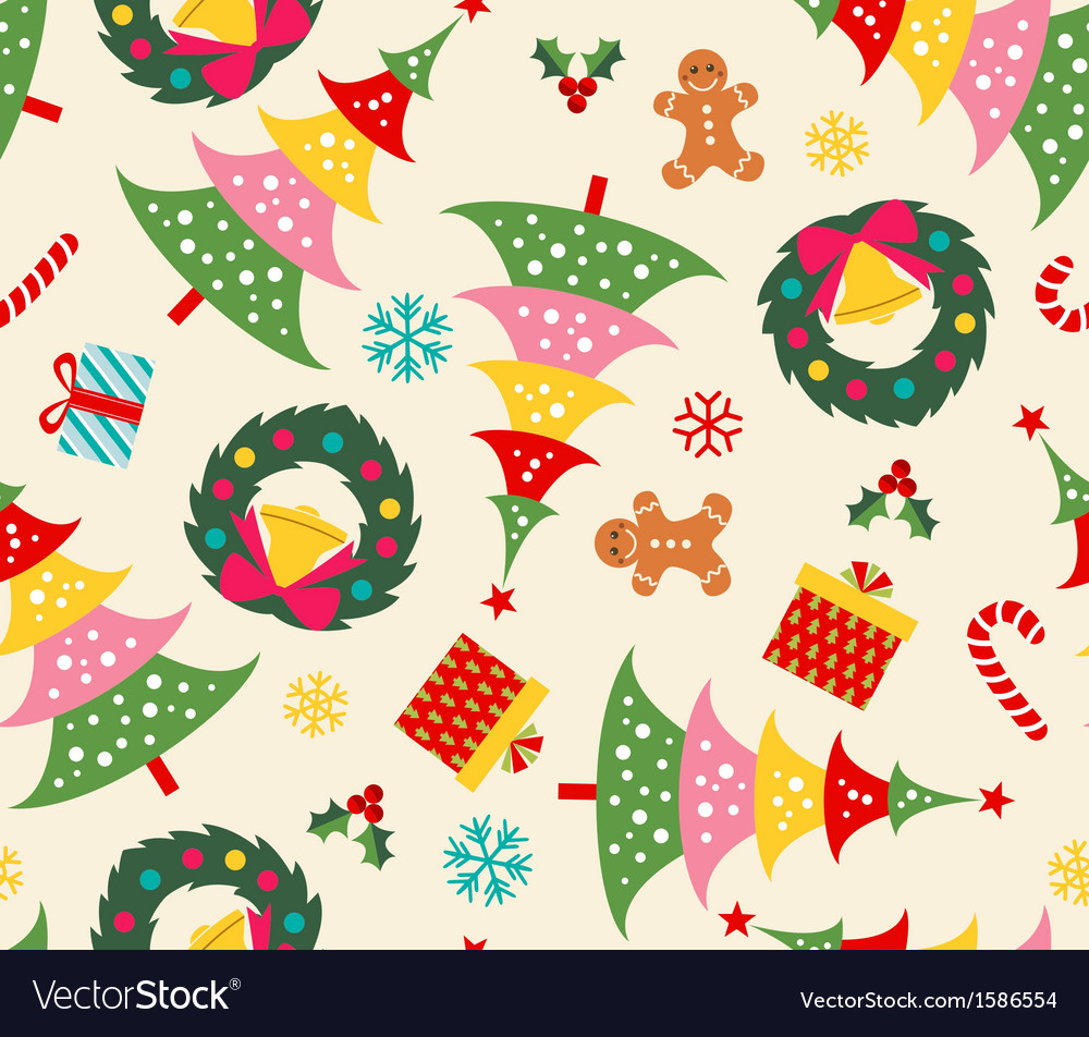 Christmas set seamless pattern vector | Price: 1 Credit (USD $1)