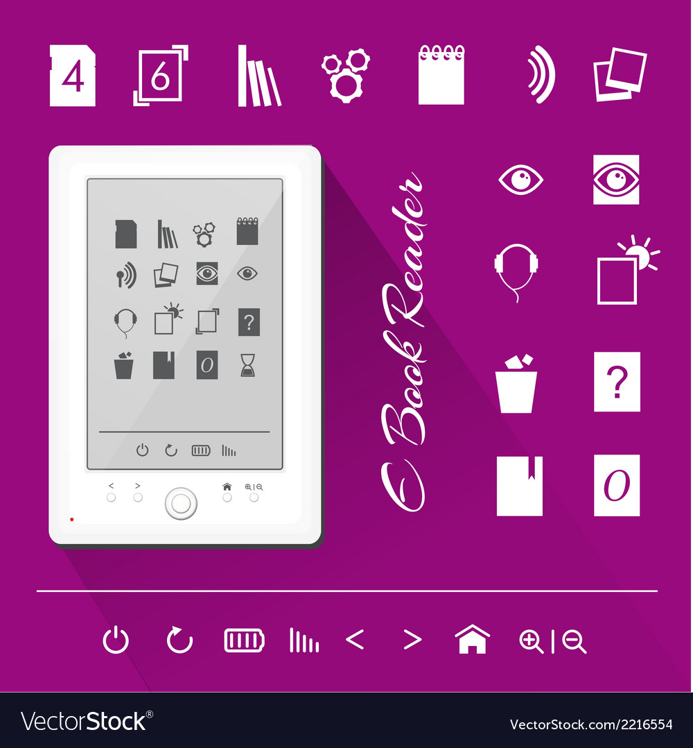 Electronic book e book reader icons vector | Price: 1 Credit (USD $1)