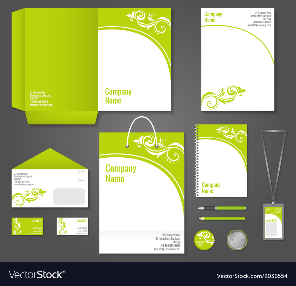 Green floral business stationery template vector | Price: 1 Credit (USD $1)