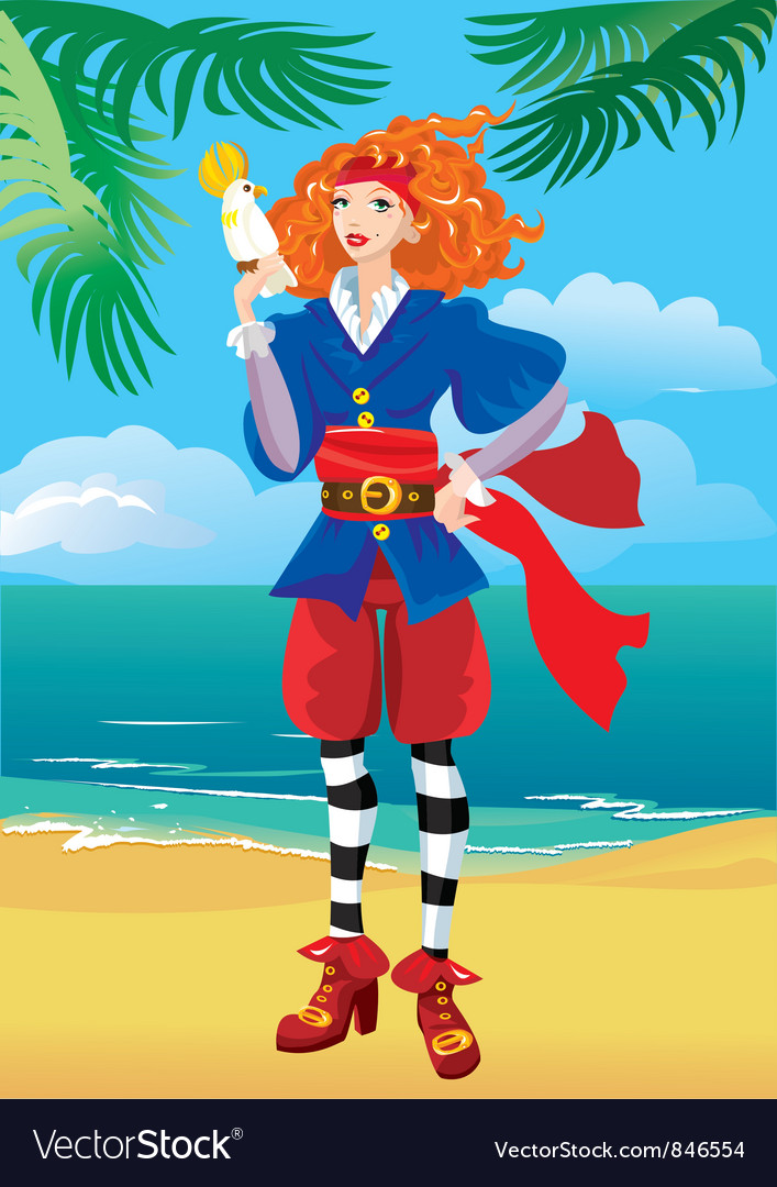 Pirate girl vector | Price: 1 Credit (USD $1)