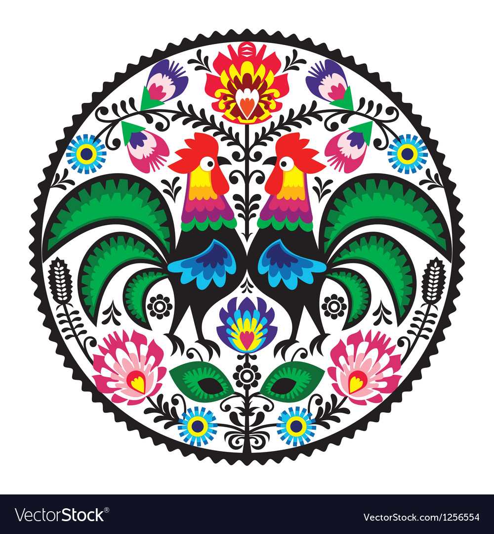 Polish floral embroidery with roosters pattern vector | Price: 1 Credit (USD $1)