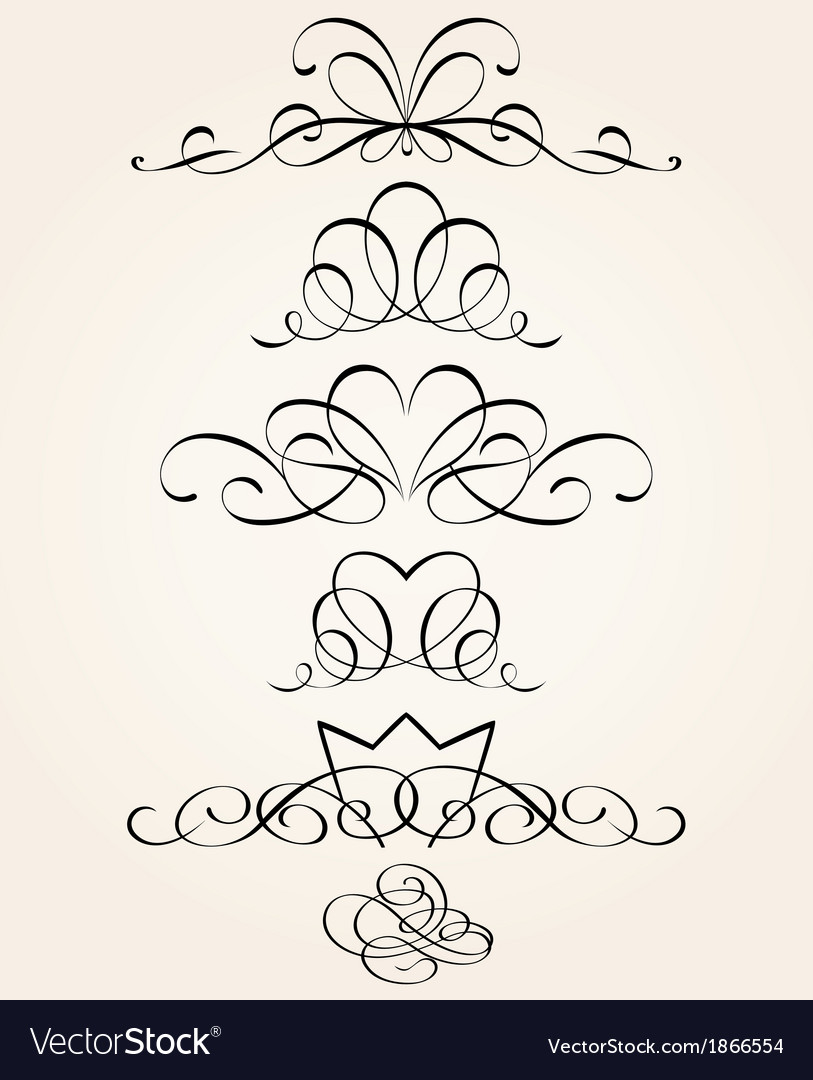 Set of calligraphic elements vector | Price: 1 Credit (USD $1)