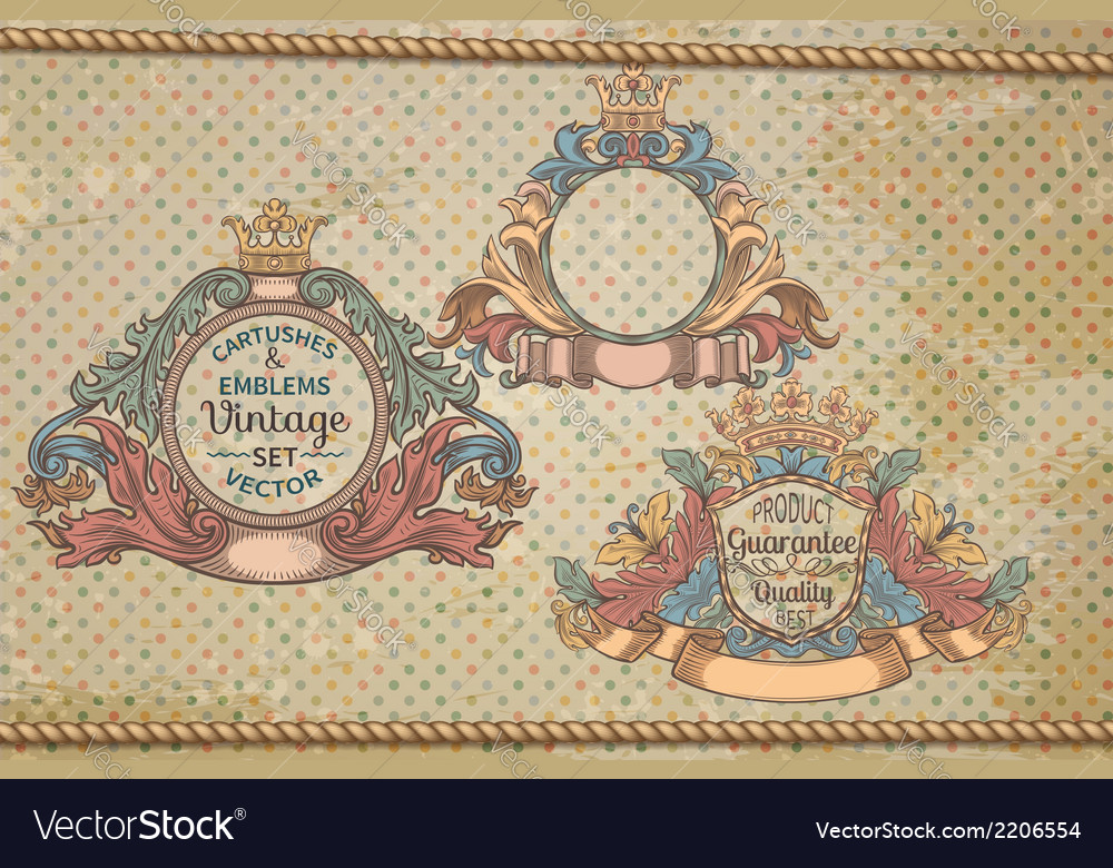 Set of vintage emblems and cartouches vector | Price: 1 Credit (USD $1)