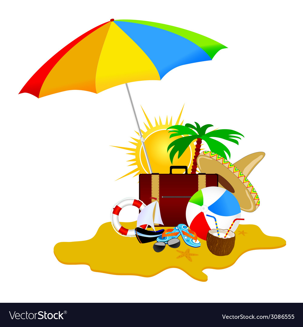 Beach with stuff art part five vector | Price: 1 Credit (USD $1)