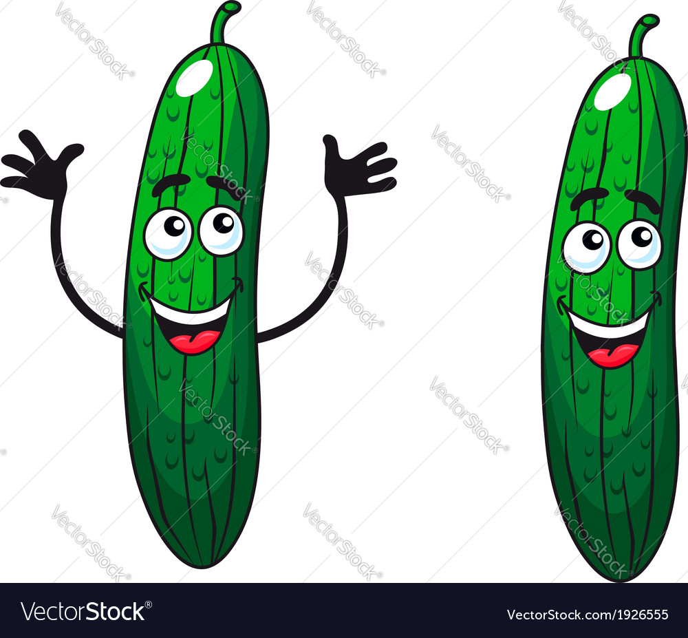 Comic happy green cucumbers and gherkins vector | Price: 1 Credit (USD $1)
