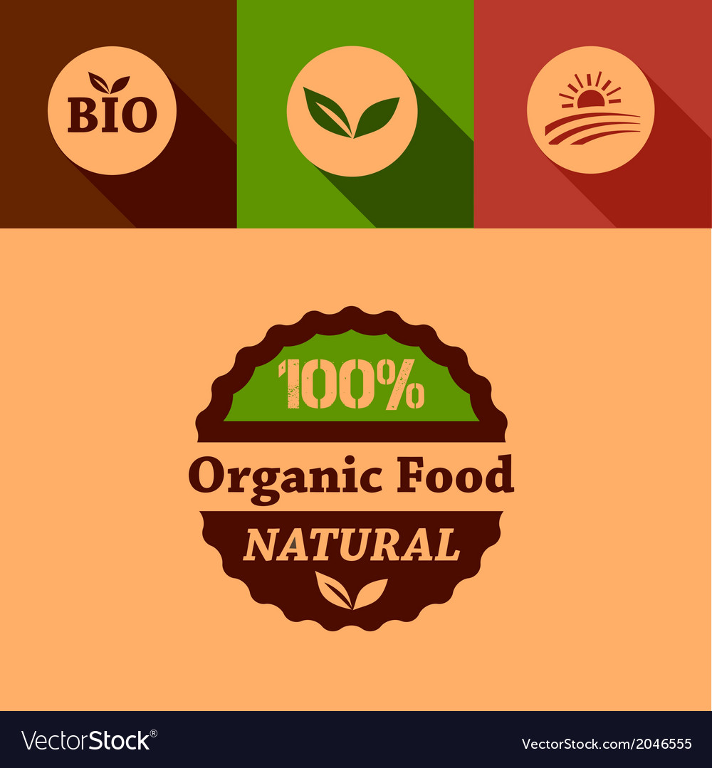 Flat organic food design elements vector | Price: 1 Credit (USD $1)