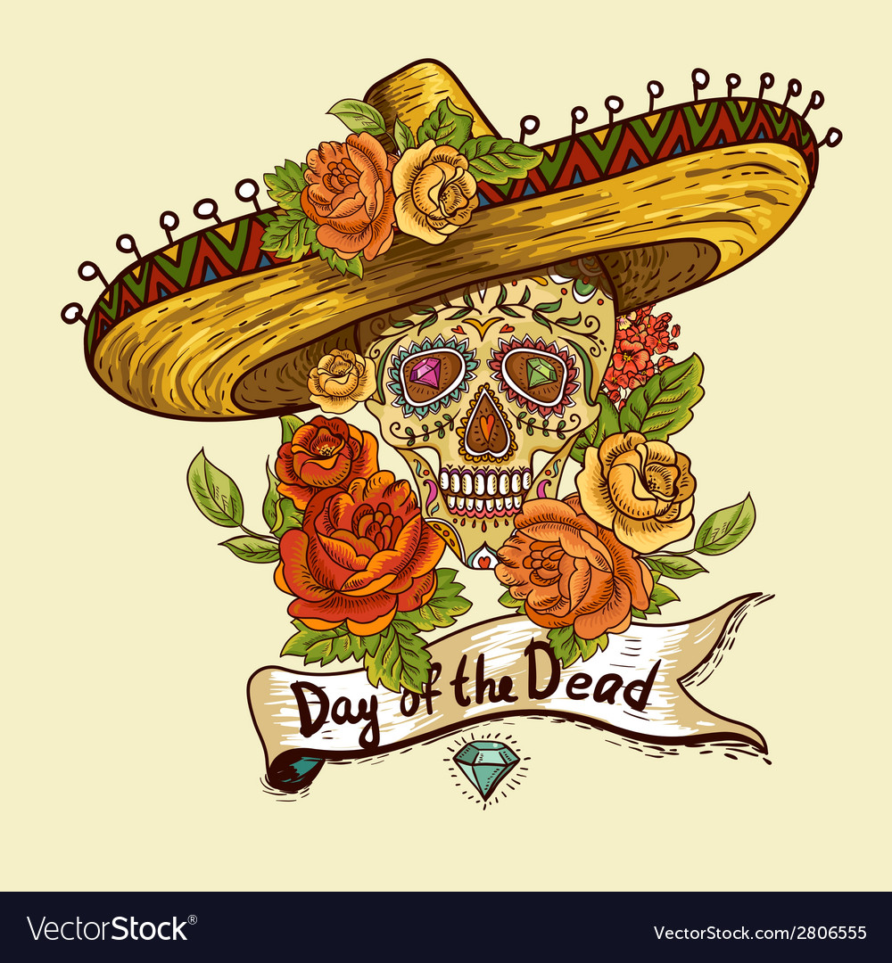 Floral background with skull in sombrero vector | Price: 1 Credit (USD $1)