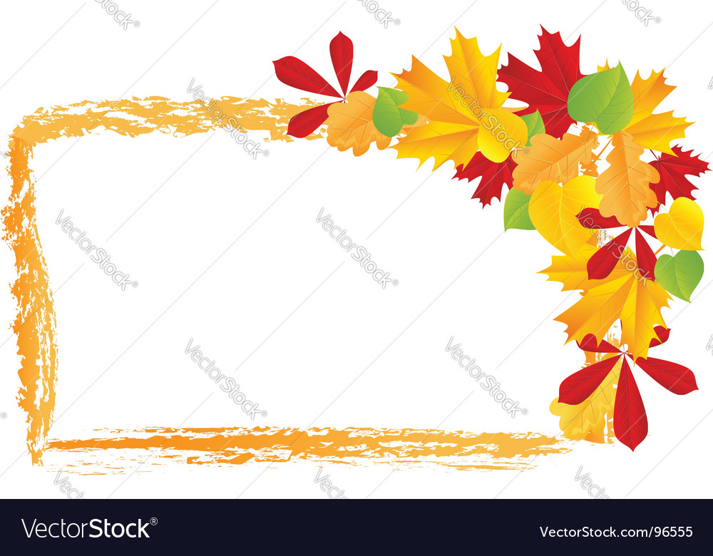 Grunge frame with autumn leaves vector | Price: 1 Credit (USD $1)