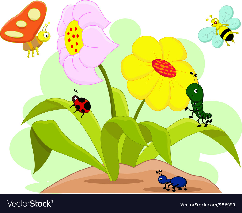 Insects and flower vector | Price: 1 Credit (USD $1)