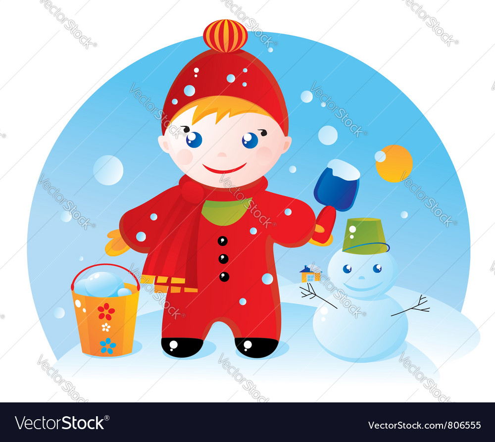 Little boy on a winter walk vector | Price: 3 Credit (USD $3)