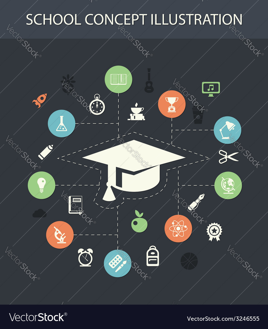 School flat design composition with icons vector   Price: 1 Credit (USD $1)