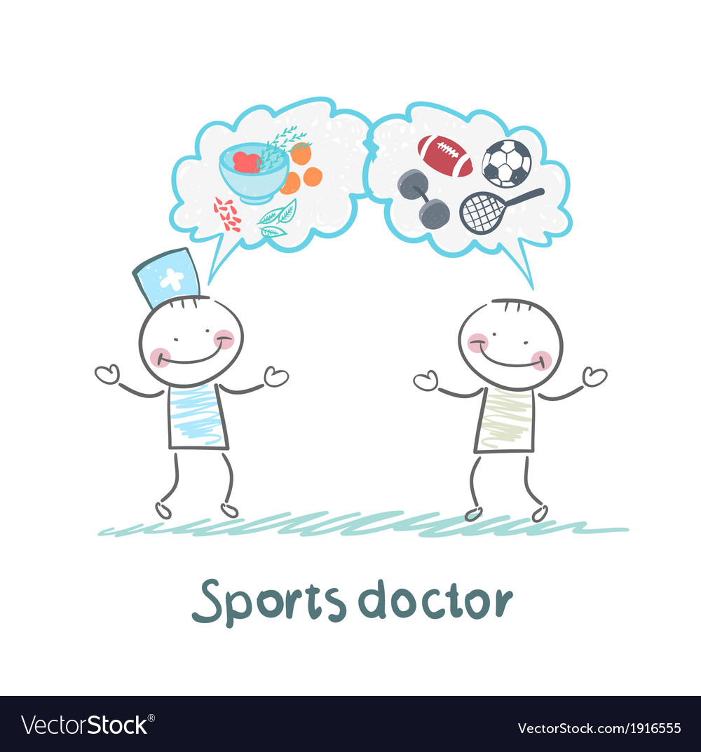 Sports doctor speaks to man of sport and healthy vector   Price: 1 Credit (USD $1)