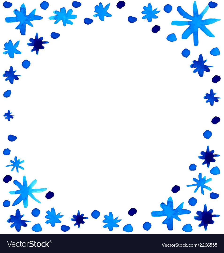 Watercolor beautiful blue snowflakes background vector | Price: 1 Credit (USD $1)