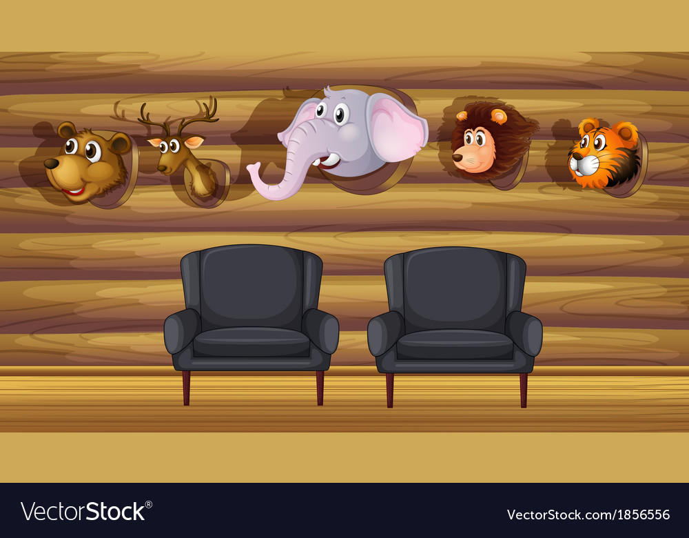 A living room with stuffed head decorations vector | Price: 3 Credit (USD $3)