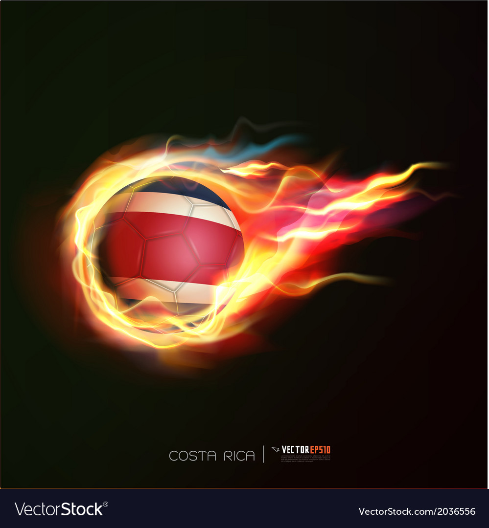 Costarica flag with flying soccer ball on fire vector | Price: 1 Credit (USD $1)