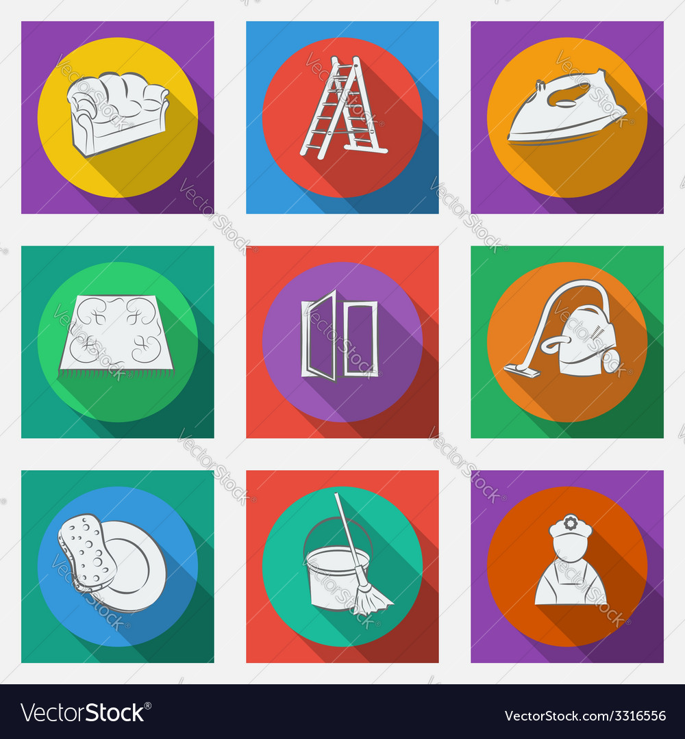 Fashionable flat icons with long shadows cleaning vector | Price: 1 Credit (USD $1)