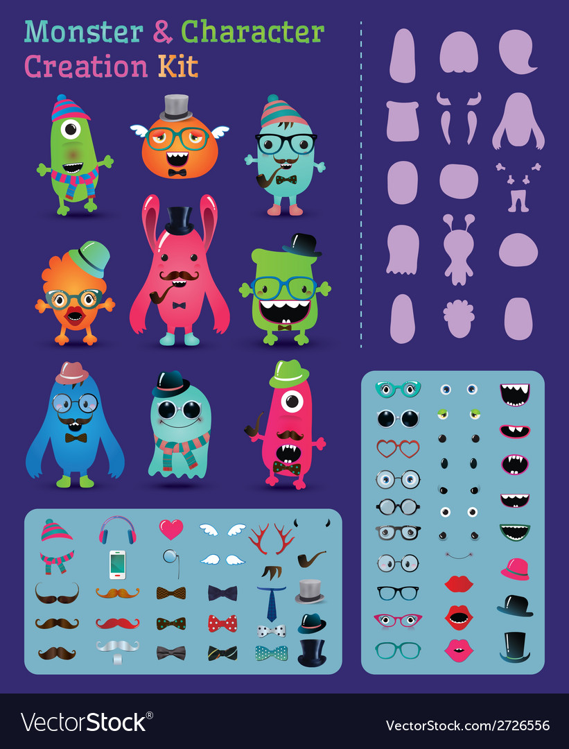 Hipster monster and character creation kit vector