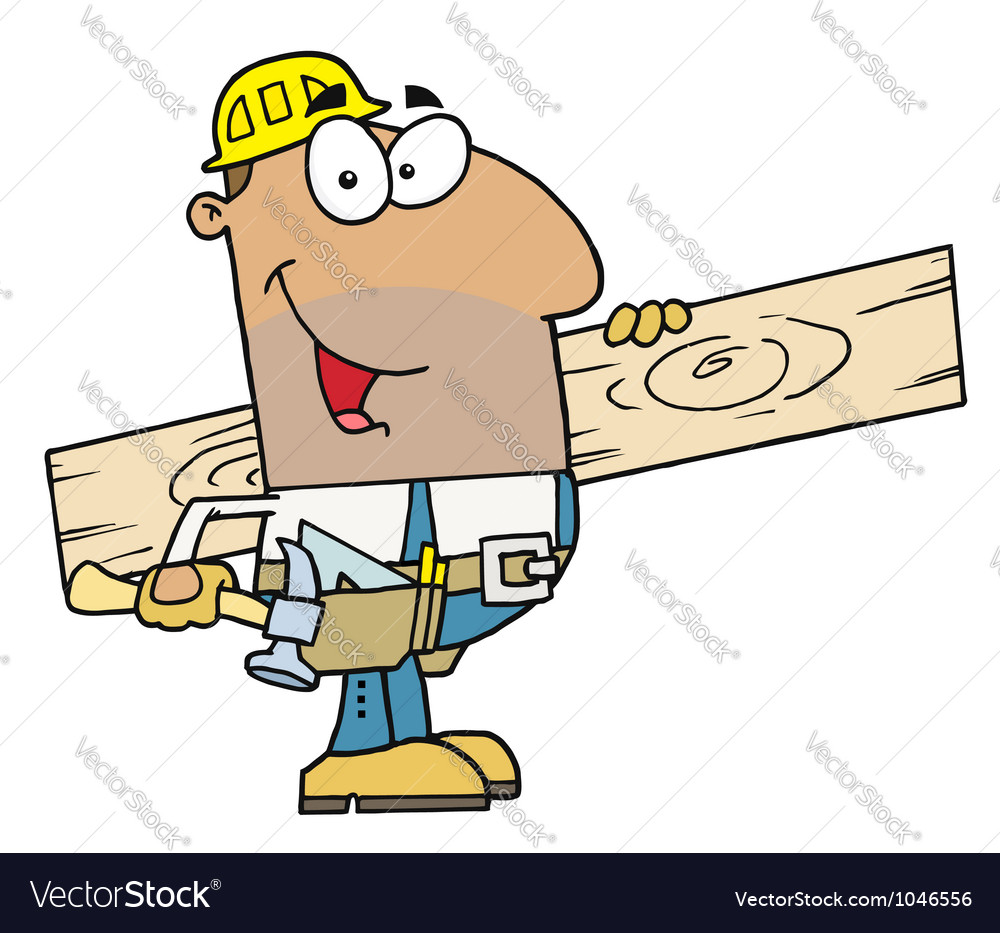 Hispanic construction worker carrying a wood board vector | Price: 1 Credit (USD $1)