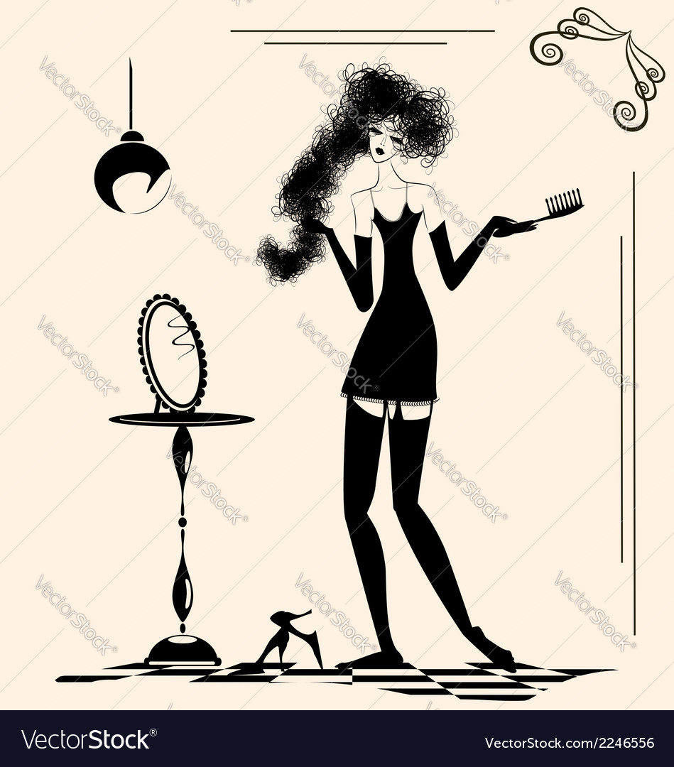 Lady and comb vector | Price: 1 Credit (USD $1)