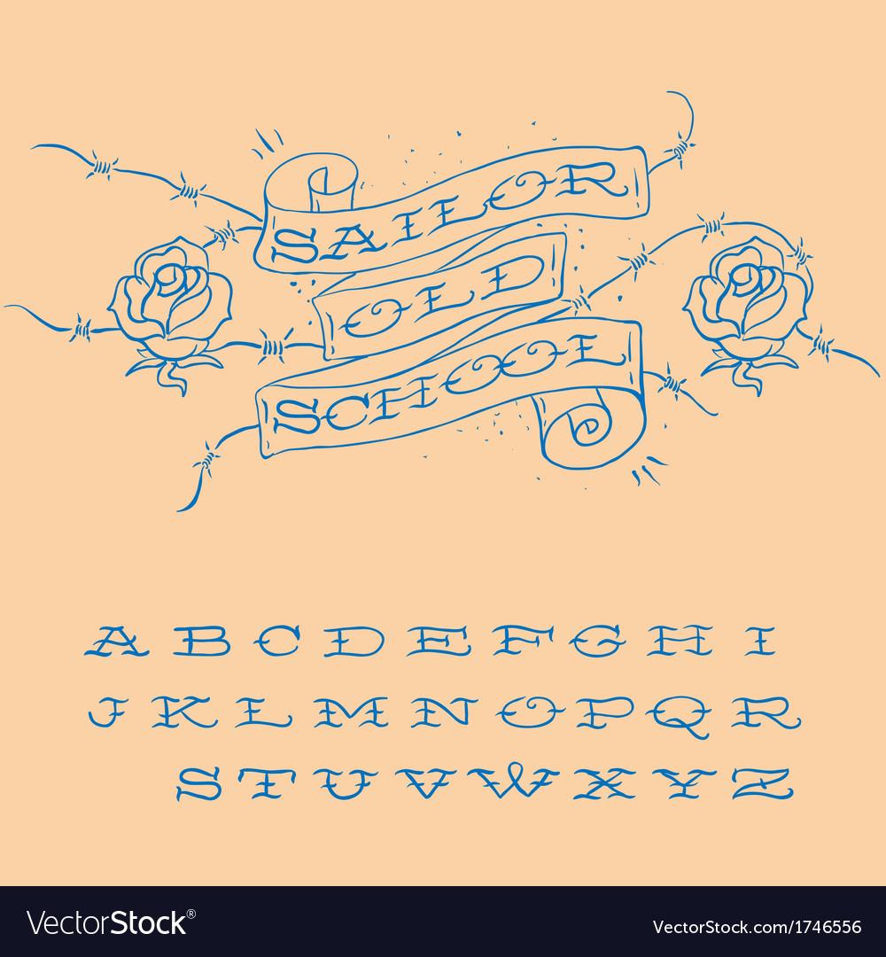 Old-school styled tattoo alphabet set vector | Price: 1 Credit (USD $1)