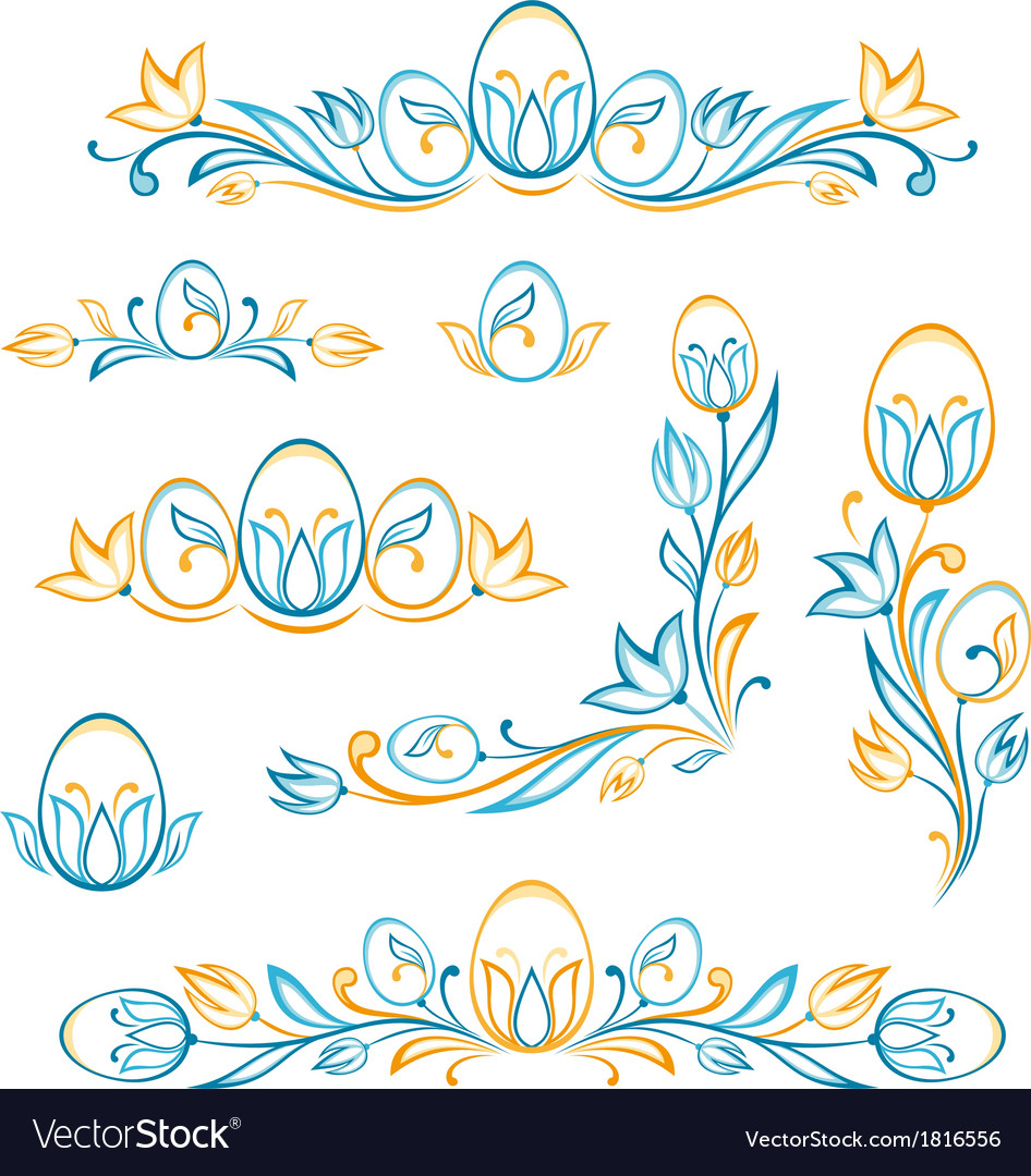 Set of decorative easter elements vector | Price: 1 Credit (USD $1)