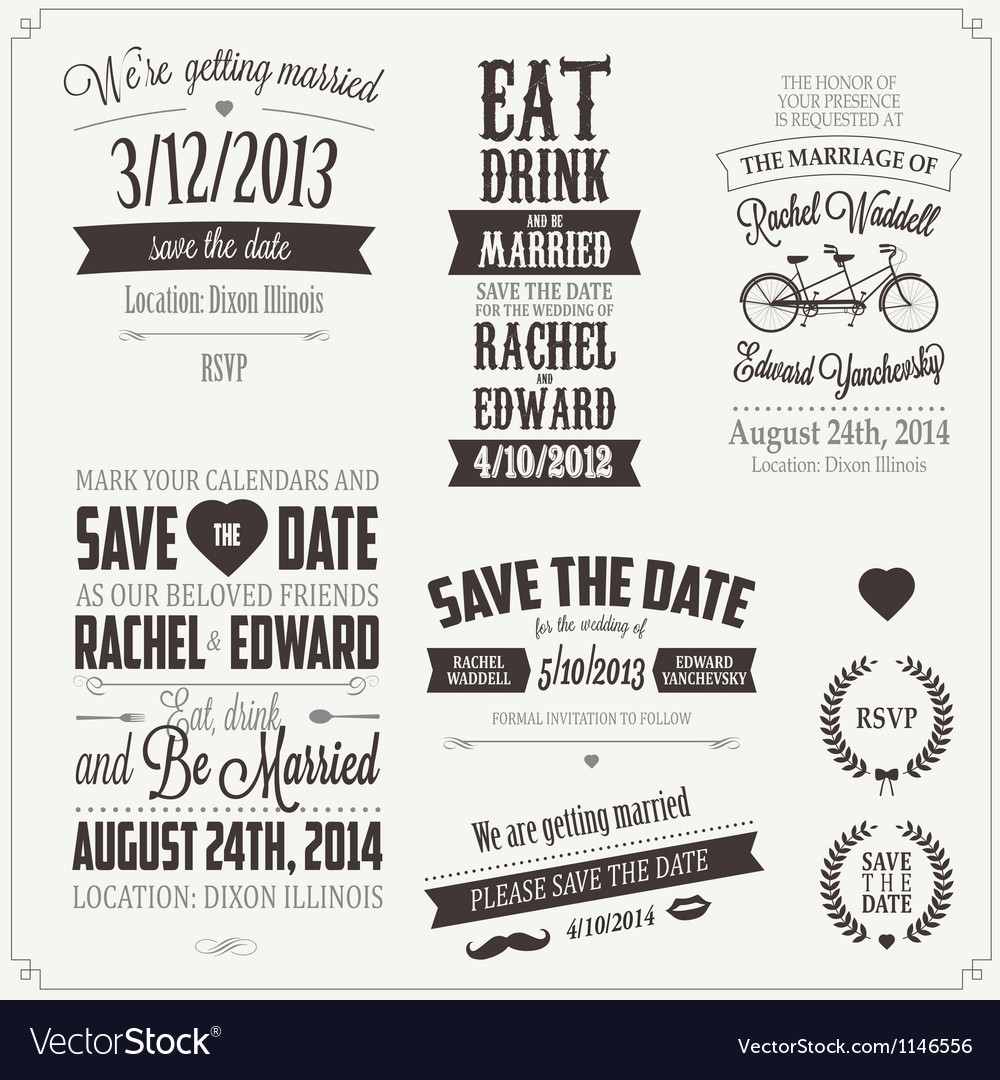 Set of wedding invitation vintage design elements vector