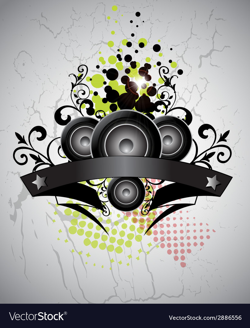 Urban grungy music banner vector | Price: 1 Credit (USD $1)