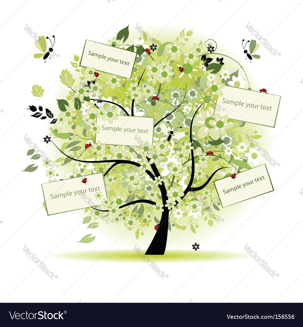 Wish tree floral with cards vector | Price: 1 Credit (USD $1)