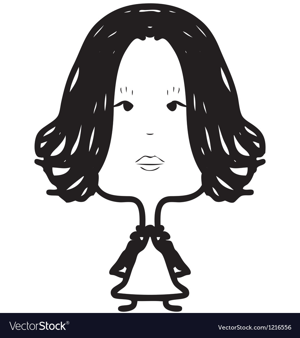Woman with long hair sketch vector | Price: 1 Credit (USD $1)