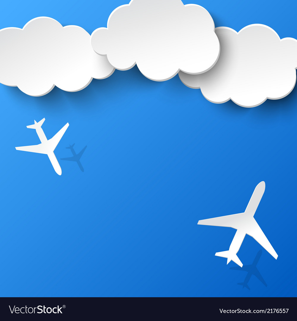 Abstract background with two airplanes and clouds vector | Price: 1 Credit (USD $1)