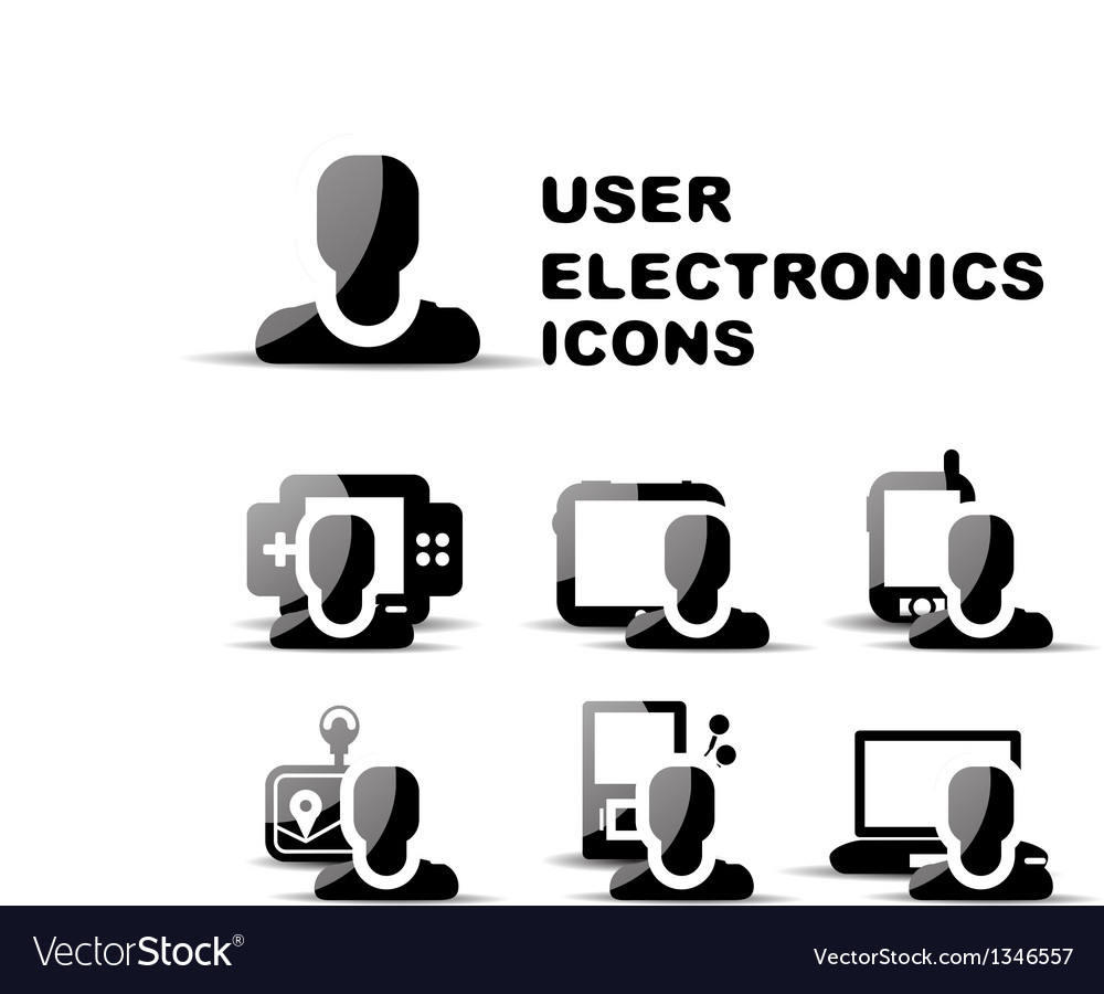 Black user electronics glossy icon set vector | Price: 1 Credit (USD $1)
