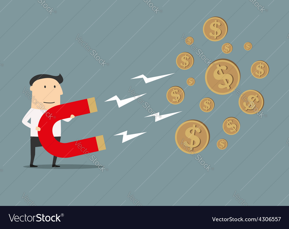 Businessman catching money with magnet vector | Price: 1 Credit (USD $1)