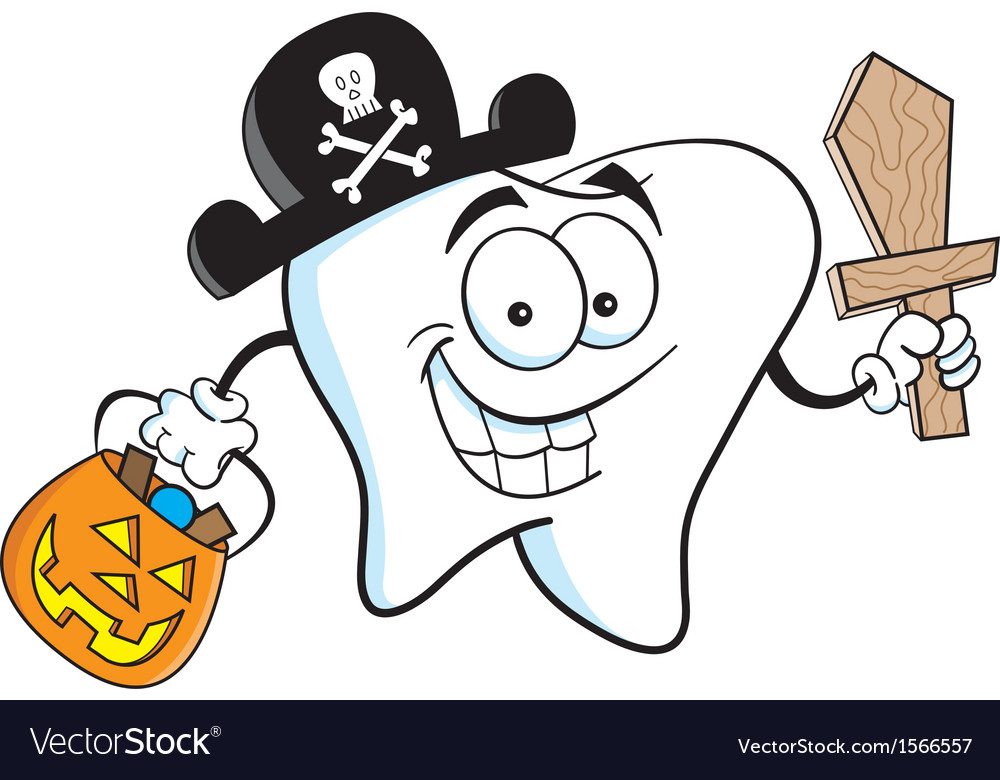 Cartoon tooth in pirate costume vector | Price: 1 Credit (USD $1)