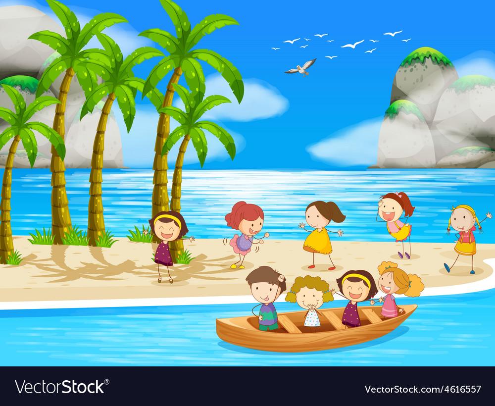 Children and beach vector | Price: 3 Credit (USD $3)