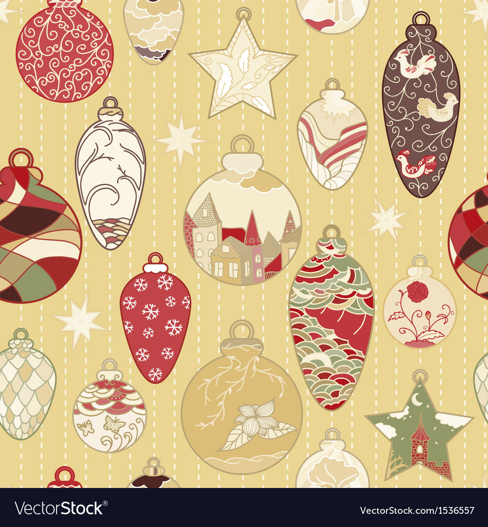 Christmas hand-drawn pattern with balls vector | Price: 1 Credit (USD $1)