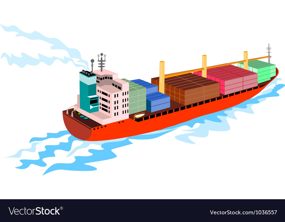 Container ship cargo boat retro vector | Price: 1 Credit (USD $1)