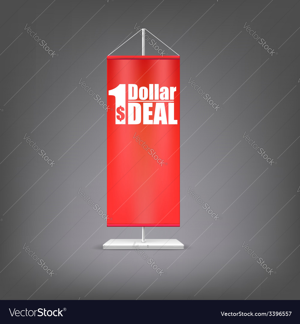 Dollar deal vertical red flag at the pillar vector   Price: 1 Credit (USD $1)